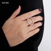 SHIXIN Bohemia Rainbow Love Heart Crystal Rings for Women/Girls Colorful Cute Fashion 2020 Ring Finger Jewelry Gifts Female Ring(China)