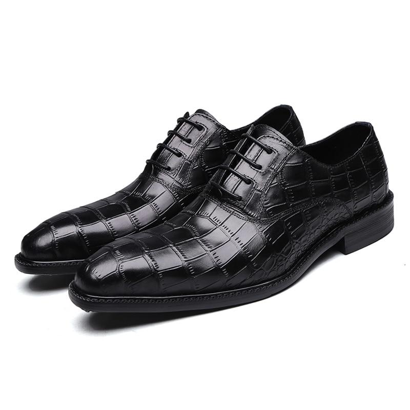 Italian Dress Shoes Men Oxford Shoes Genuine Leather Wedding Shoes For Men Crocodile Business Formal Shoes Lace Up Mens Shoes