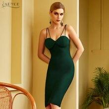 Adyce 2021 Новое летнее женское зеленое Бандажное платье на