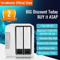 TerraMaster F2-422 2 bahías 10GbE NAS Servidor de Almacenamiento en Red CPU Intel Quad-Core con cifrado de Hardware (Sin Disco)
