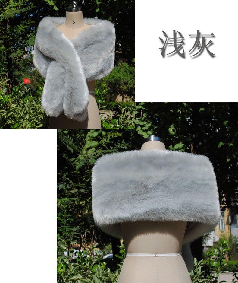 Élégant femmes châle nouveau type renard-comme fourrure châle fourrure-comme cou écharpe mariée en porte-à-faux robe de soirée cape cadeau spécial - 3