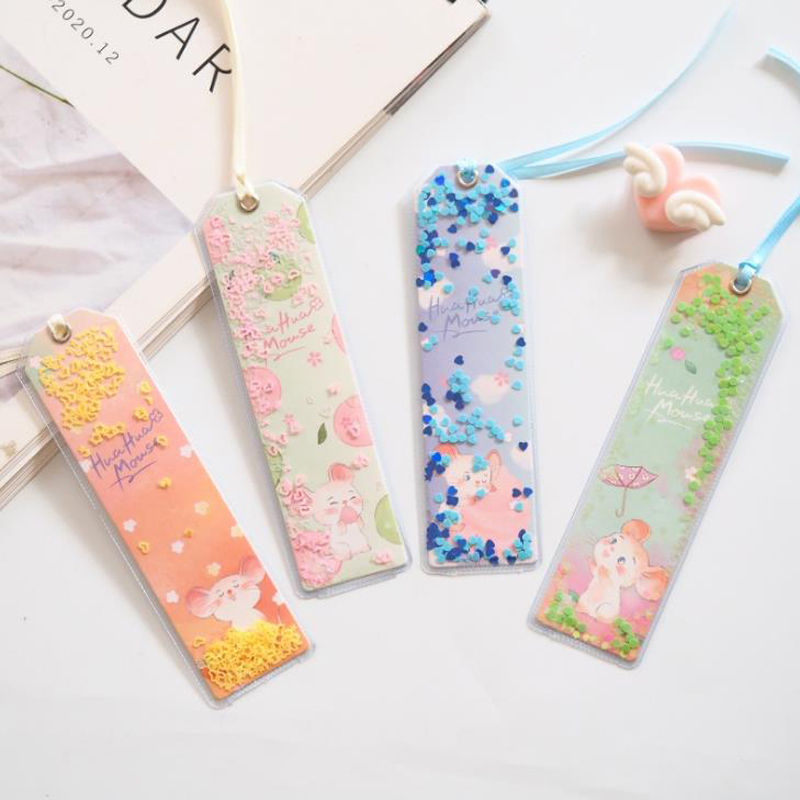 1 Pcs Laser Glitter Sequins Mouse Flower Transparent Bookmarks Office School For Book Paper Files Page Holders Stationery Gifts
