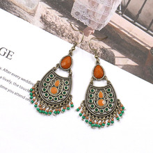 Bohemian National style jewelry fashion palace style decorative alloy earrings rice beads eardrops women's jewelry accessories national wind alloy jewelry round stone earrings