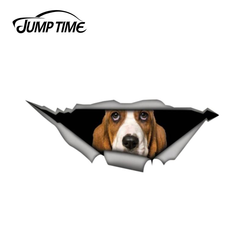 Jump Time 13cm X 4.8cm Basset Hound  Sticker Torn Metal Bumper Decal Funny Car Stickers Window Trunk Animal 3D Car Styling