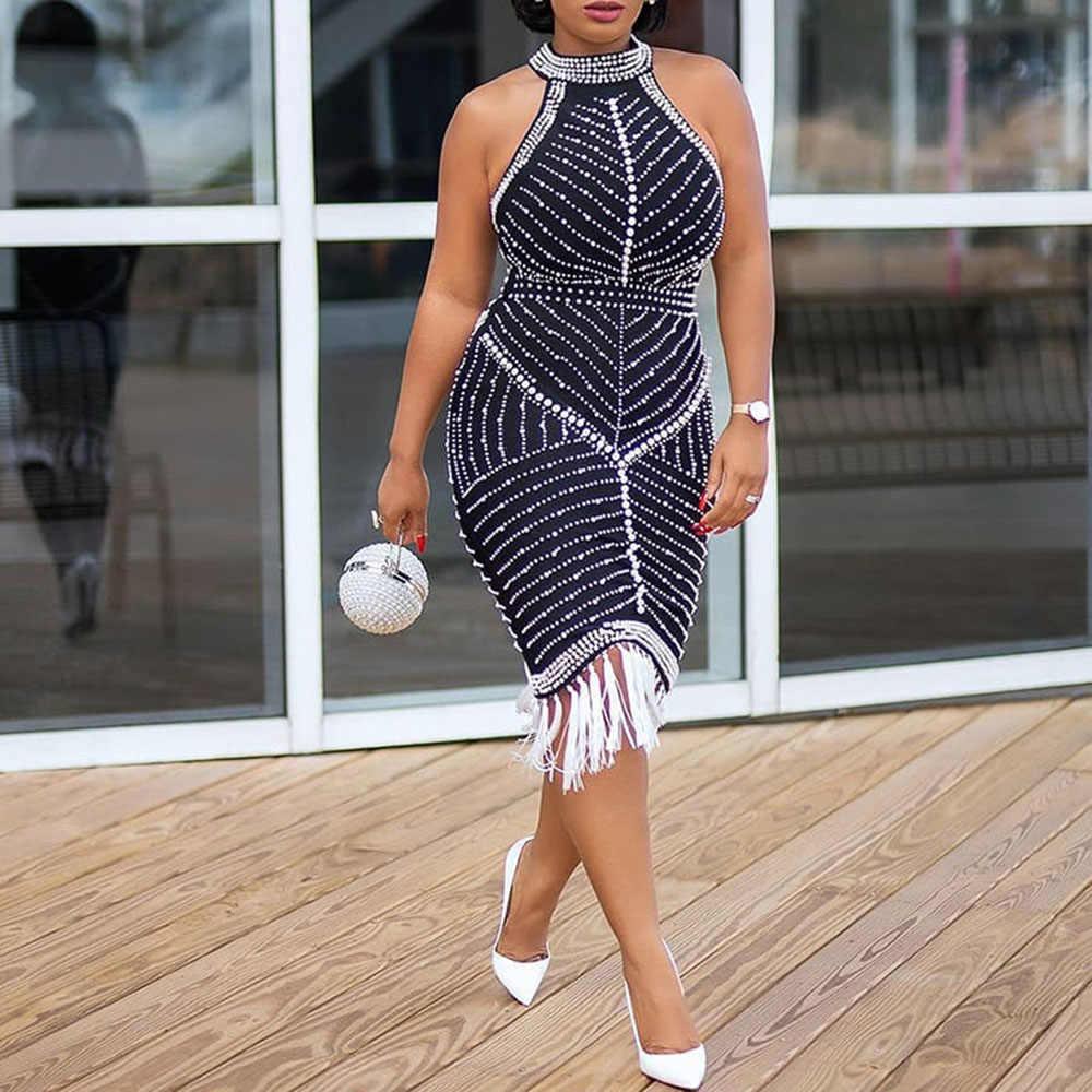 Sexy Kleider Party Night Club Halter Backless Frauen Mini Robe Afrikanische Damen Luxus Engen Perlen Strass Quaste Kurzen Kleid
