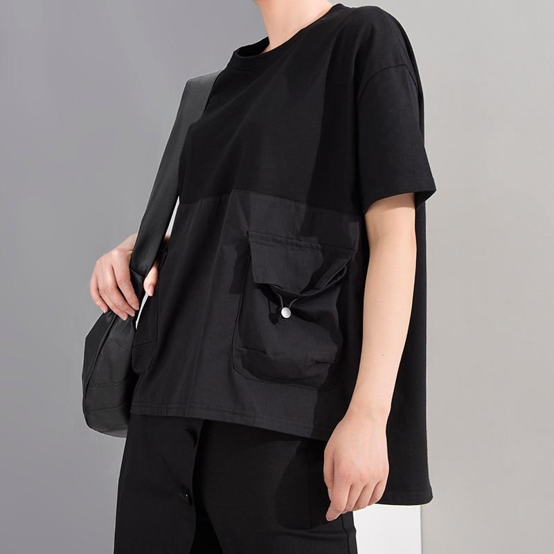 [EAM] Women Black Pocket Irregular Split Big Size T-shirt New Round Neck Short Sleeve  Fashion Tide  Spring Summer 2020 1T70601 2