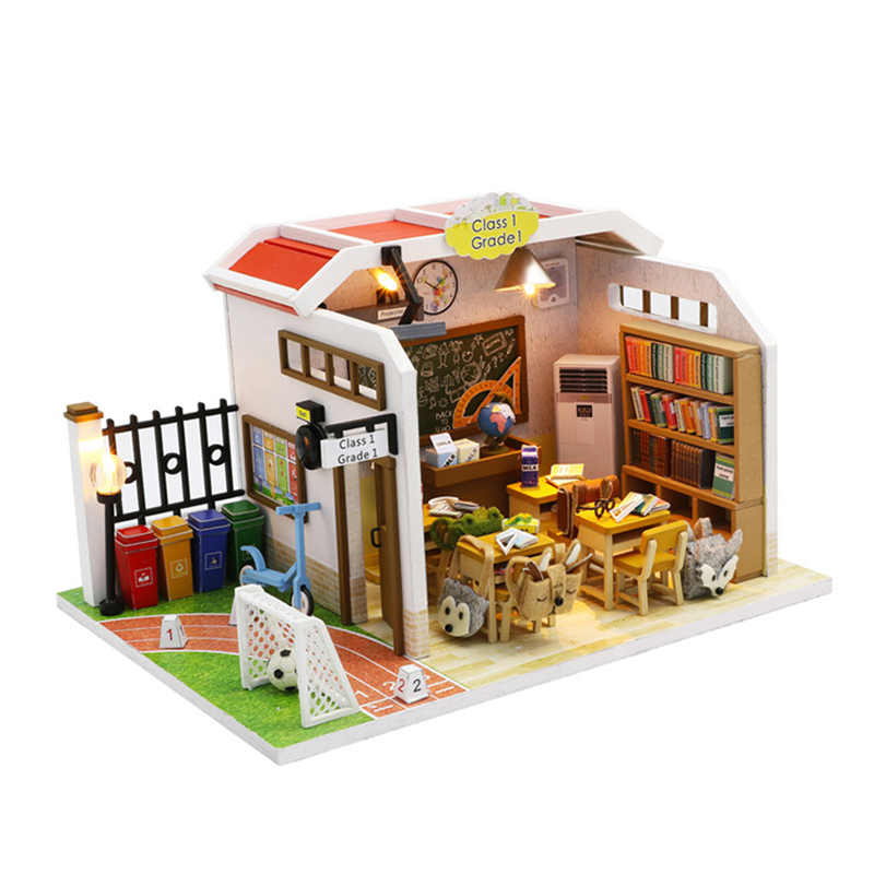Wooden Handmade Doll House Assembly Simulation Classroom Toy DIY Flash Miniature Dollhouse Kids Girls Furniture Cute Houses Kit