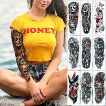 Large Arm Sleeve Tattoo Rose Sternum Clock Waterproof Temporary Tattoo Sticker Red Beauty Girl Full Skull Flower Tatoo Women