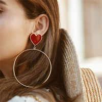 Vintage Red Heart Large Drop Earrings For Women Gold Circel Geometrical Big Dangle Earrings Hyperbolic Brincos Femme Jewelry
