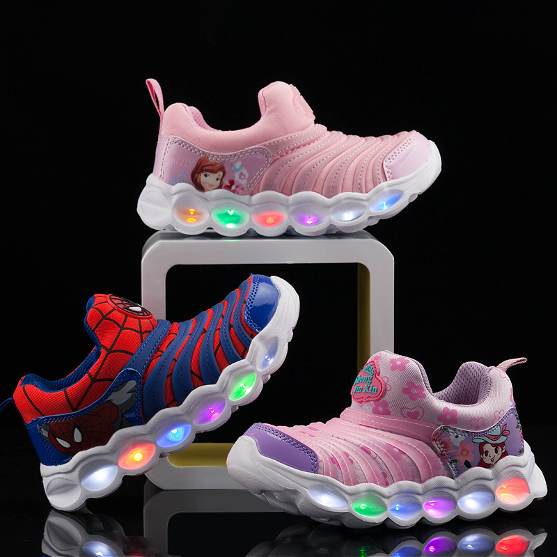 Girls Shoes High Quality Boys Sneaker 2019 Autumn Winter Children Toddler Cartoon Baby Shoes Kids Led Shoes With Lights Sneaker