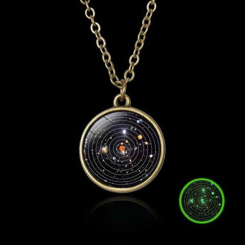 Sistema solar planeta estrelas de cristal bola fulgor no escuro vidro dupla face galáxia preto couro corrente colar para womem presente dos homens
