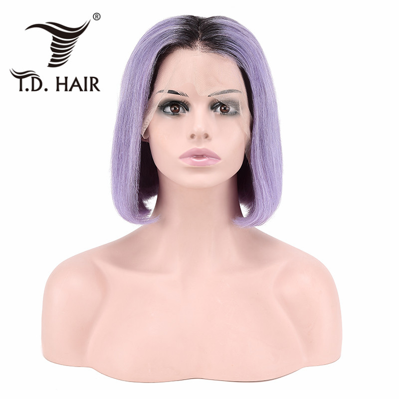 TD фиолетовый эффектом деграде (переход от темного к Синтетические волосы на кружеве парик 13x4 швейцарские кружева Remy человеческие волосы