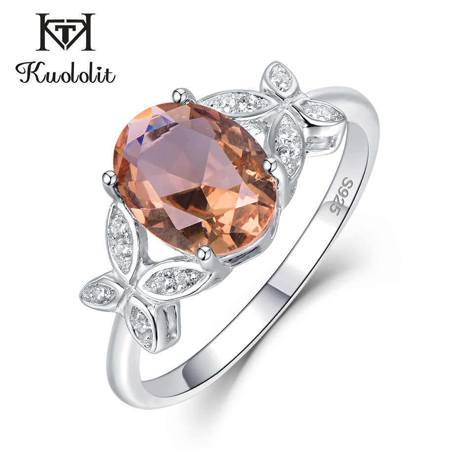 Kuololit Zultanite Gemstone Ring for Women Solid 925 Sterling Silver Created Color Change Stone Wedding Engagement  Fine Jewelry