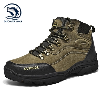 Large Size Outdoor Durable Hiking Shoes Waterproof Anti-Skid Climbing Shoes Tactical Hunting Boots Trekking Sports Sneakers Men xiang guan outdoor shoes men quality waterproof hiking shoes anti skid wear resistant breathable trekking boots us size 6 12