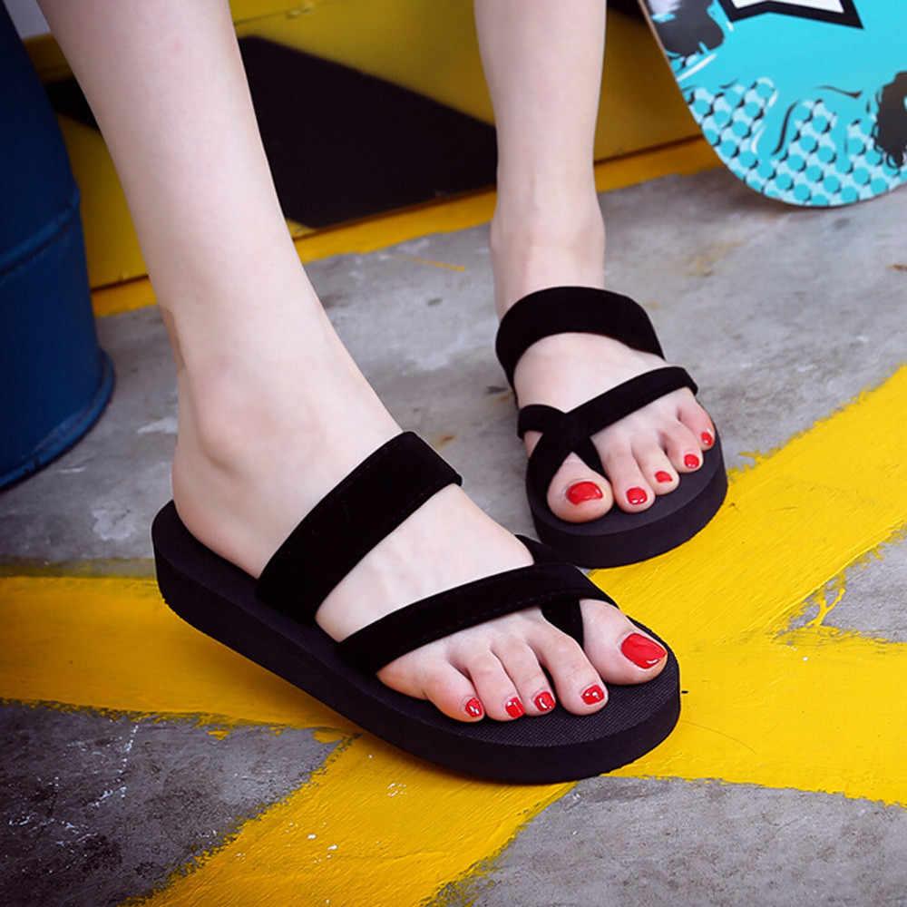 ผู้หญิงรองเท้าแตะฤดูร้อนลื่นแพลตฟอร์มรองเท้า Wedges รองเท้าแตะผู้หญิงชายหาดกลางแจ้งรองเท้าแตะสุภาพสตรีรองเท้าผู้หญิง #10