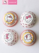 kitty cake 100pcs Hello Kitty High Temperature Resistant Muffin Greaseproof Paper Cup Cake Tray Mold Baking Mats Liners Papercup Packaging