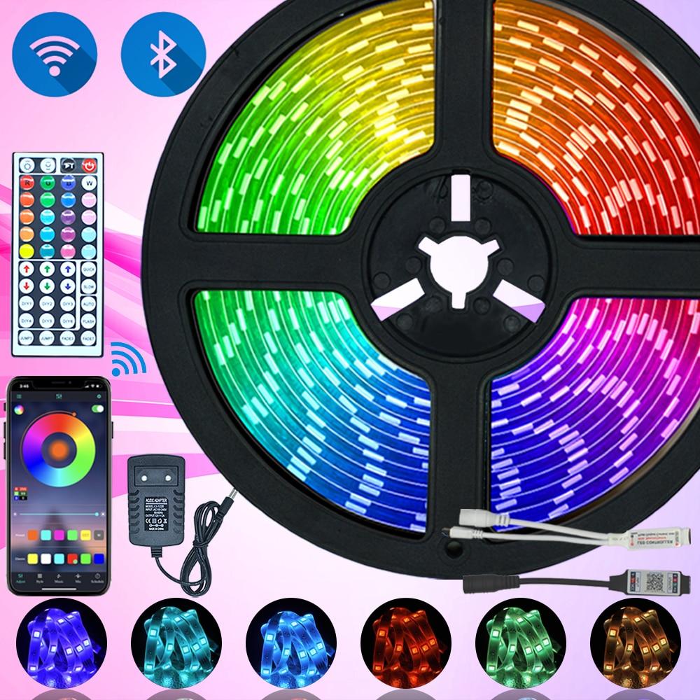 Светодиодная лента с Bluetooth luces LED RGB 5050 2835 водонепроницаемая гибкая лента с диодной лентой DC 12V 5M 10M|Светодиодные ленты|   | АлиЭкспресс