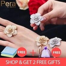 Ручная работа, высокое качество AAA + фианит, зеркальный женский браслет и кольцо в форме большого цветка, ювелирные наборы для влюбленных, подарок Z017