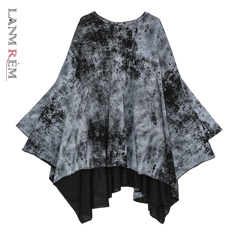 LANMREM Can Ship 2020 Spring Fashion Personality Round Neck Pullover Oversize T Shirt High Street Irregular Bat Tops YH850