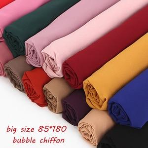 Image 3 - Шифоновый шарф большого размера 85*180 см, женский, хиджаб, мусульманская шаль, однотонная длинная шаль, большой головной убор, женские жоржетты