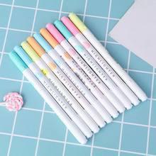 5 pçs colorido doces cor highlighters de extremidade dupla marcadores fluorescente milkliner papelaria presente q6pa
