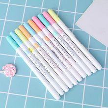 5Pcs Colorful Candy Color Double-end Highlighters Markers Fluorescent Milkliner Stationery Gift Q6PA