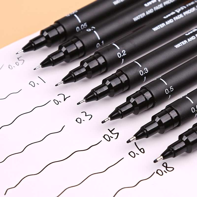 Uni Pin Technical Fineliner Pens ... Uni Pin Drawing Pens//6 Assorted Tip Sizes