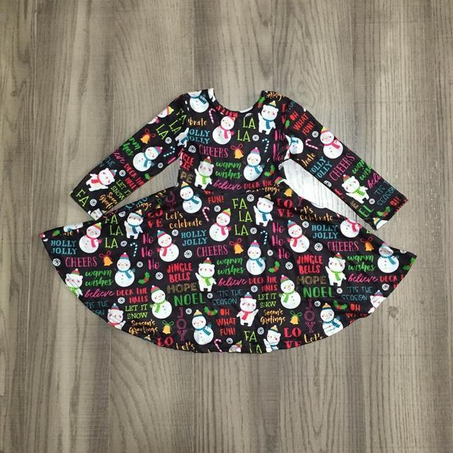 Girlymax Christmas fall/winter baby girls cotton chlidren clothes milk silk twirl dress knee length snowman navy tie dye tree 2