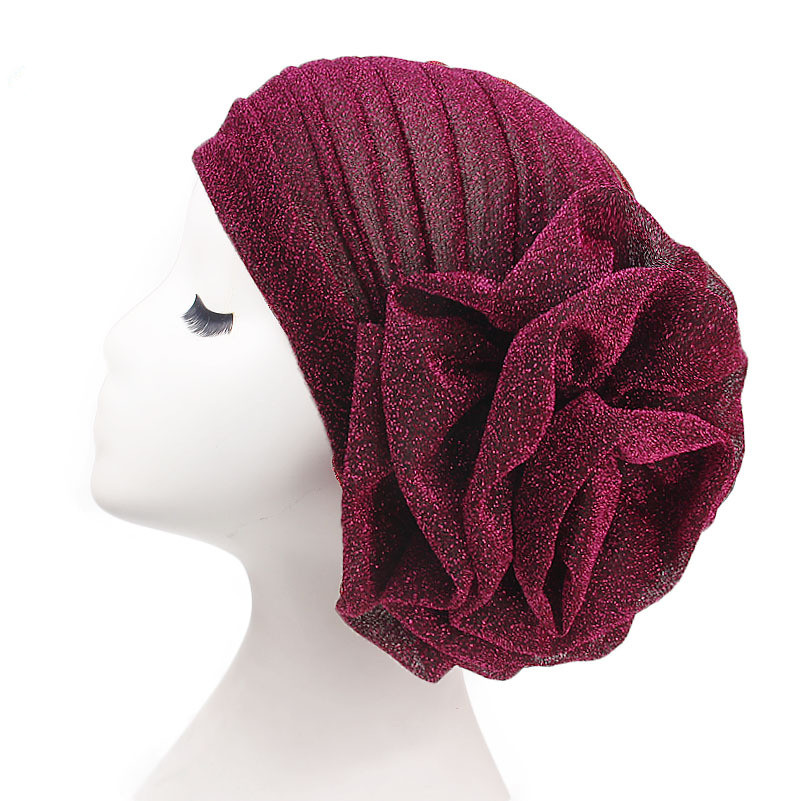 Helisopus 2020 New Bright Headband Turban For Women Muslim India Hat Cap Big Flowers Women Fashion Hair Accessories