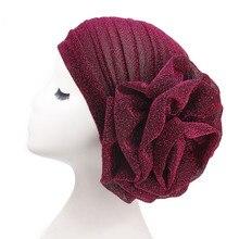 Helisopus 2020 New Bright Headband Turban for Women Muslim India Hat Cap Big Ladiess Women Fashion Hair Accessories