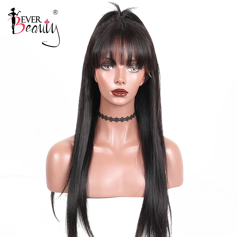 Straight Glueless Full Lace Human Hair Wigs With Bangs 250 Density Transparent Lace Wigs Pre Plucked Brazilian Ever Beauty Remy