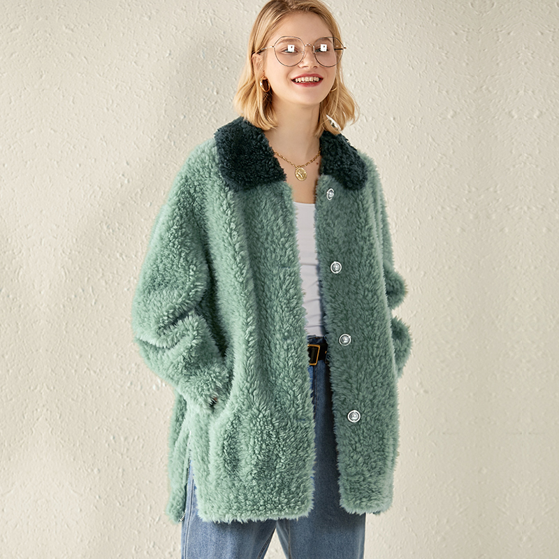 100% Wool Jacket Real Fur Coat Female Autumn Winter Coat Women Clothes 2020 Korean Vintage Sheep Shearling Fur Tops ZT3921
