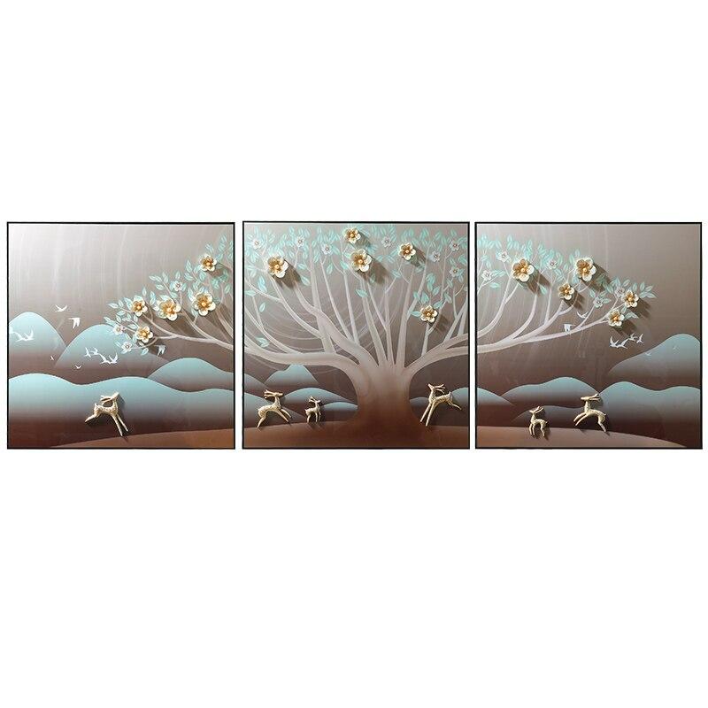 Sala de estar decoração pintura sanlian pote quente restaurante pintura a óleo novo restaurante chinês mural pintura alívio 3d - 2