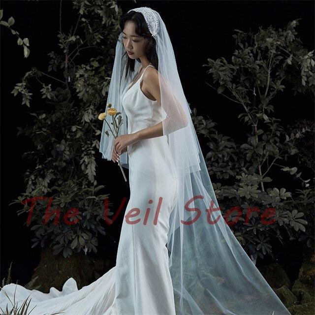 Longue cathédrale mariage mariée voiles accessoires pour mariées 2T dentelle Tulle Vintage juliette casquette voile velo sposa de novia largo ivoire