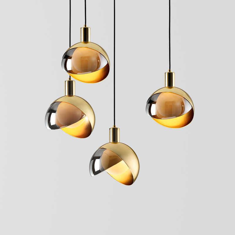 Современный минималистичный Золотой одноголовый небольшой светодиодный светильник Chandelie скандинавский креативный прикроватный светильник для бара и ресторана люстра
