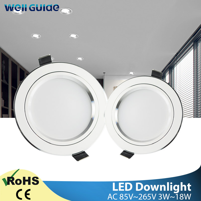 LED Downlight 3W 5W 10W 15W Round Silver White Ultra Thin Aluminum AC110V 220V 240V Round Recessed LED Spot Lighting