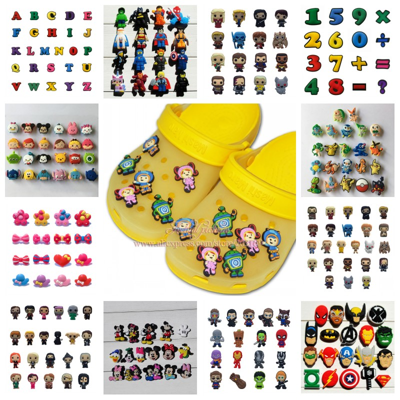 9-26pcs/set Avengers Mickey Fruits Vegetable Star Wars PVC Shoe Charms Shoes Buckles Accessories Fit Bands Bracelets Croc JIBZ