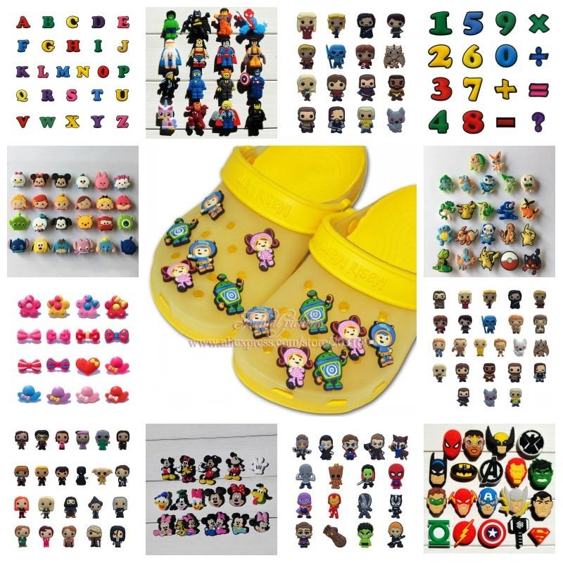 9-26pcs/set Avengers Mickey Fruits Vegetable Star Wars PVC Shoe Charms Shoes Buckles Accessories Fit Bands Bracelets Croc JIBZ