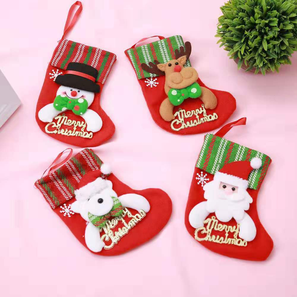 Xmas Stocking Elk Socks Christmas Snowman Cutlery Bags Santa Claus Kitchen Dining Table Cutlery Lovely Gift Bag Tree Decor