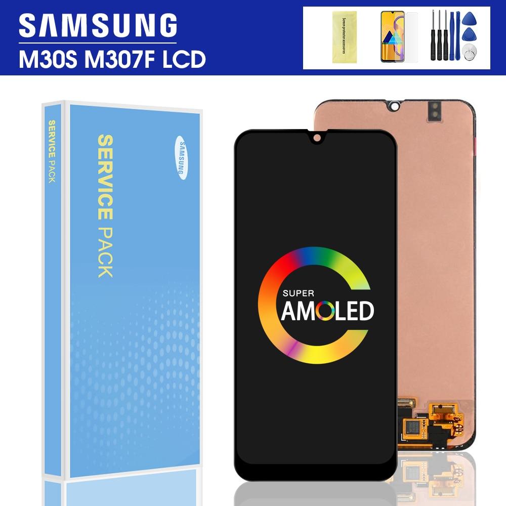 Oryginalny do Samsung Galaxy M30S wyświetlacz dotykowy do Samsung M30S ekran Digitizer wymiana zespołu panelu 2019 M30S LCD