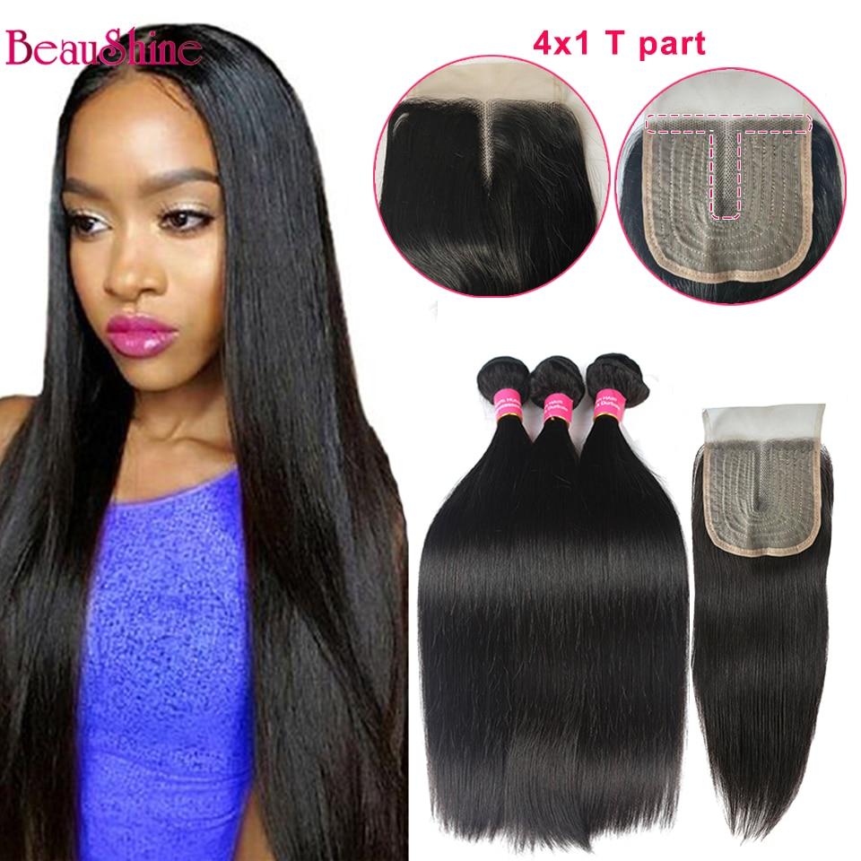 Brazilian Straight Hair Bundles With Closure T Part 4X1 Lace Closure WithHuman Hair Bundles