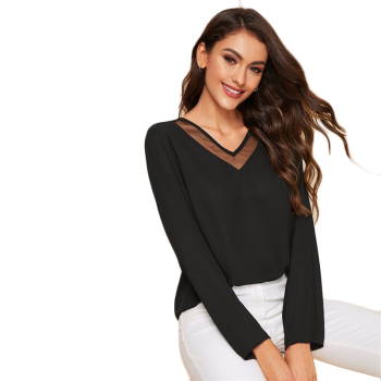 Casual Contrast Mesh V Neck Blouse GRL Autumn Solid Minimalist Top Elegant Shirt Long Sleeve 9