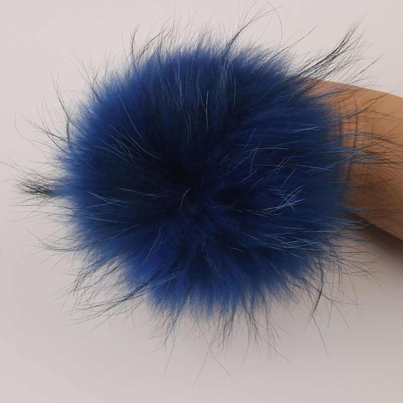 DANKEYISI Echt Bont Pompoms 13-14cm DIY Sliver Vos Wasbeer Bont Pom Poms Ballen Natuurlijke Bont Pompon Voor hoeden Tassen Schoenen Accessoires