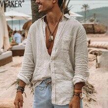 2020 nova masculina casual manga longa camisas de linho masculino algodão linho cor sólida sexy camisa M-3XL