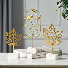 Creative Gold Leaf Home Decoration Accessories For Living Room Modern Flowers Miniature Metal Figurines Wooden Office Desk Decor