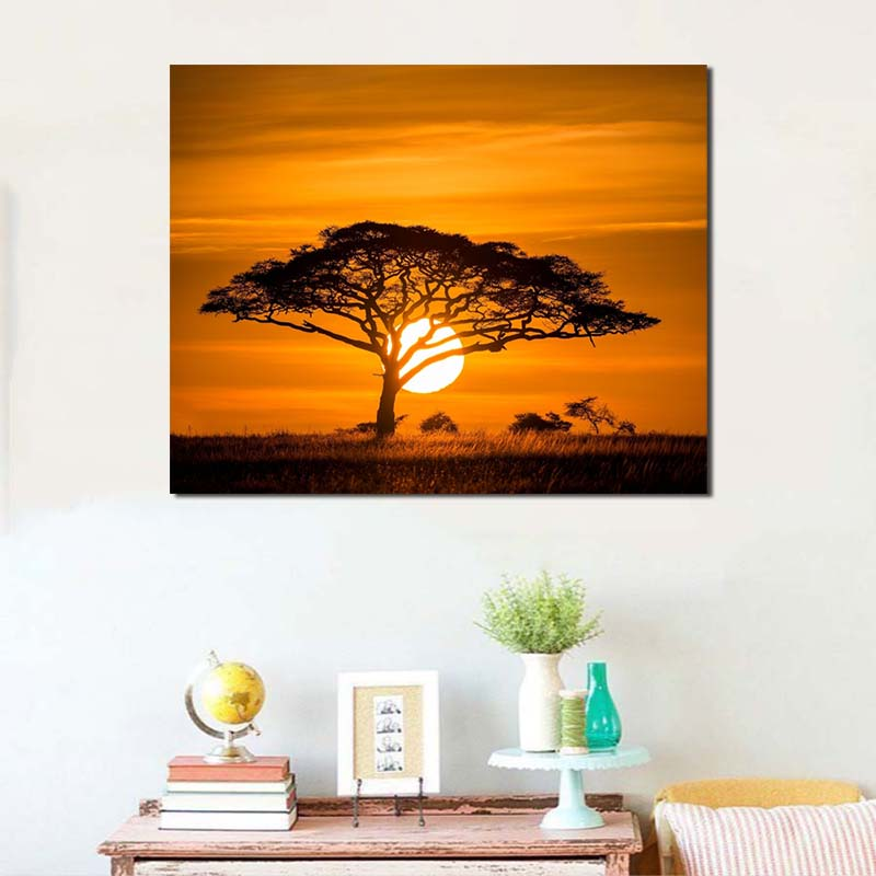 Sunset Africanes Nature Landscape Wallpaper Canvas Painting Print Bedroom Home Decor Modern Wall Art Oil Painting Poster Picture Buy At The Price Of 3 64 In Aliexpress Com Imall Com