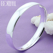 DOTEFFIL 925 Sterling Silver 10mm Smooth Solid Bracelet Bangles For Women Men Wedding Engagement Party Jewelry