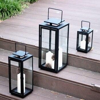 Windproof Candle Holder Glass Outdoor Crystal Iron Minimalist Candle Holder Nordic Simple Kaarsenhouder Lantern Holder JJ60ZT