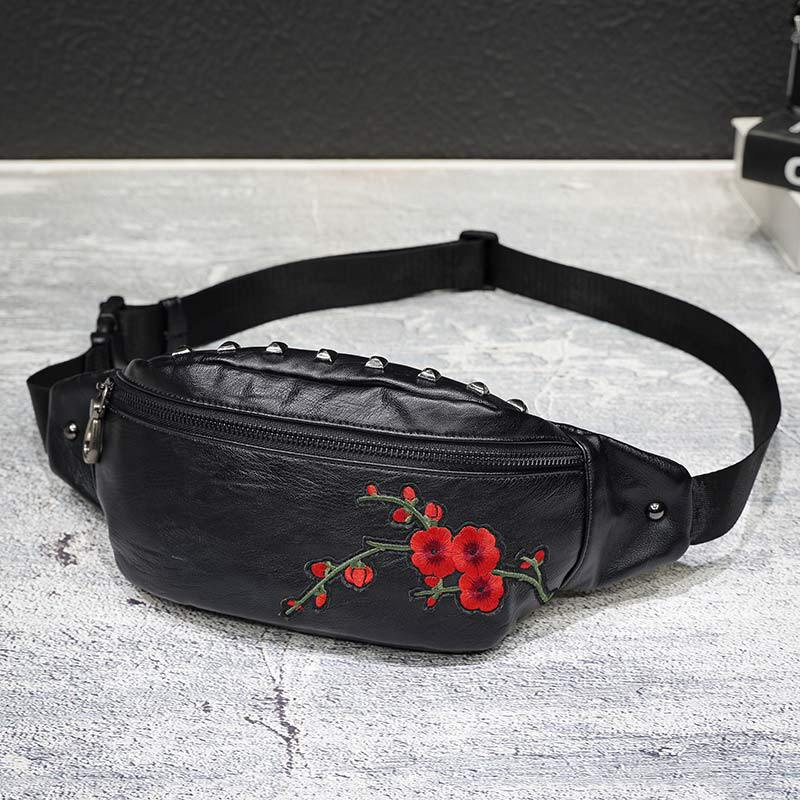 Men's Crossbody Embroidery Plum Blossom Shoulder Bags Men Chest Bag Split Leather Sling Bags High Quality Travel Drop Shipping