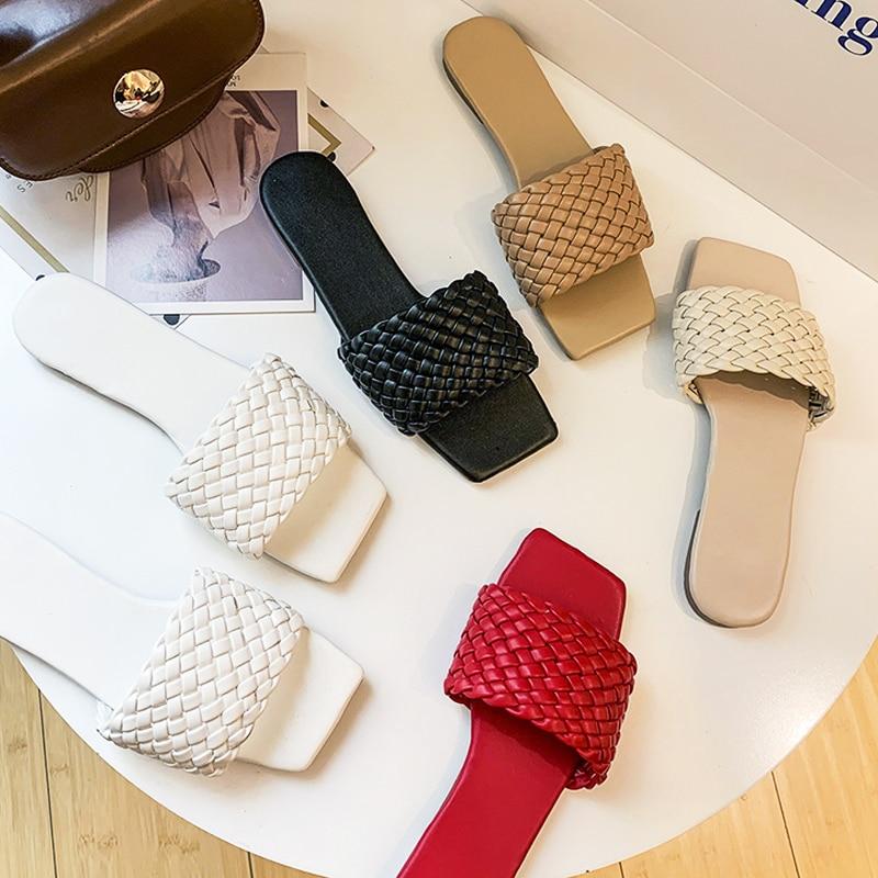 Women Shoes Flat-Slippers-Set Flip-Flops Braided Beach-Sandals Casual Fashion Temperament